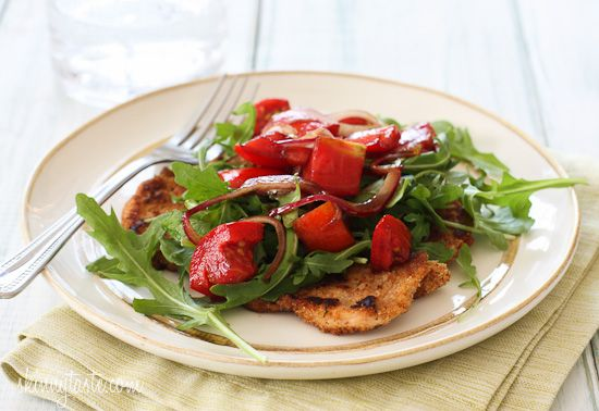 Baked Chicken Milanese with Arugula and Tomatoes | Skinnytaste