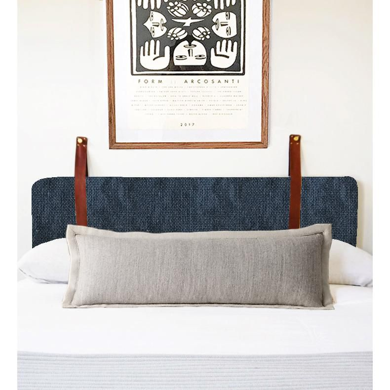 Wall Hung Headboard Cushion With Leather Straps Slate Blue Linen Norwegian Wood Cushion Headboard Wall Mounted Headboards Linen Headboard