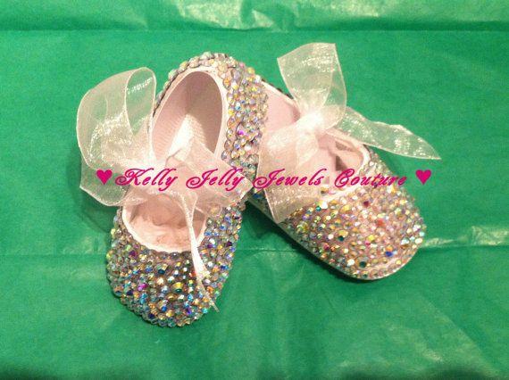 AB Crystal rainbow Diamonte   Diamante Baby Bling shoes 0-3  0f743dc6e528