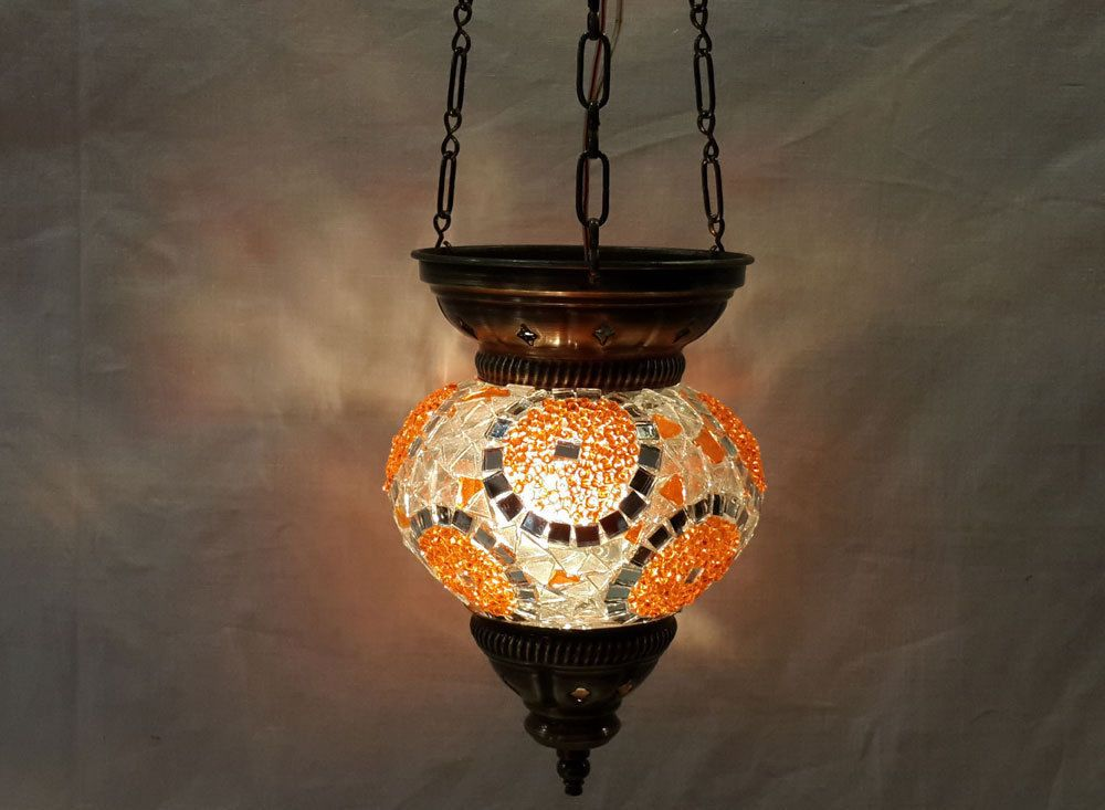 Moroccan lantern mosaic hanging lamp glass chandelier light lampen candle n 011  #Handmade #Moroccan