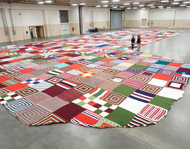 World S Largest Knit Crochet Christmas Stocking In Support