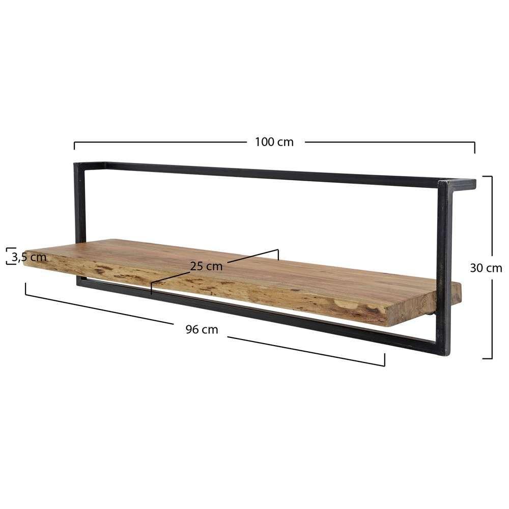 Vintage Wandregal 100 Cm Akazie Holz Metall Regal In 2020
