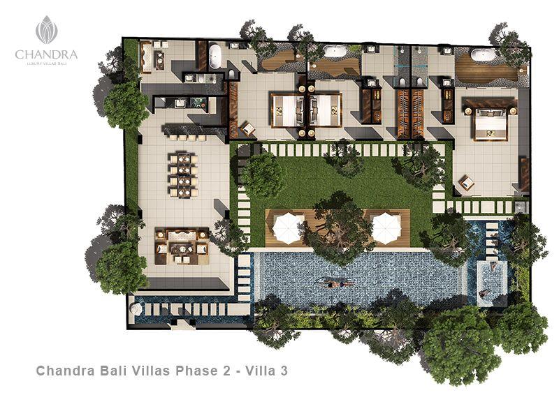 3 Bed Pool Villa Floor Plan Chandra Bali Villas Pool House Plans Bali Style Home House Floor Plans