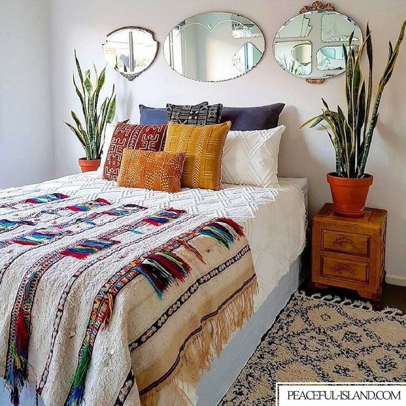 Go East For Boho Inspired Home Decor: Native Inspired Home Decor With Oval Mirrors And Green