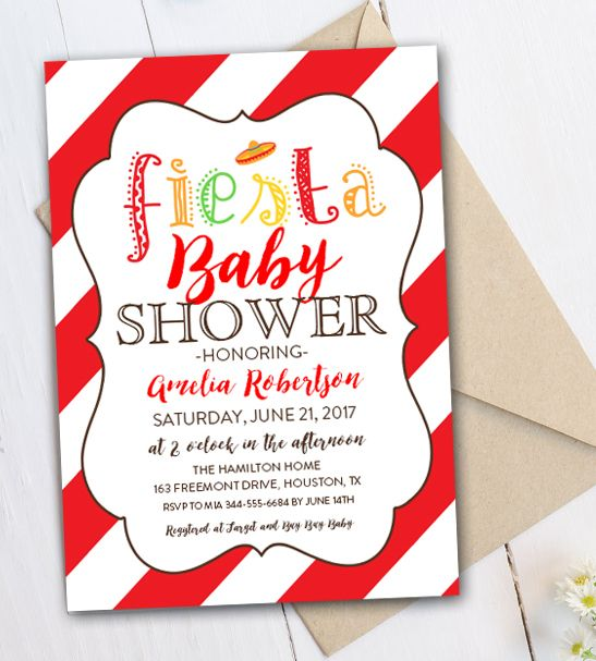 Editable Baby Shower Invitation Fiesta PDF Printable Instant - Editable Baby Shower Invitations