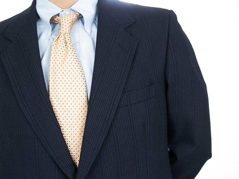 #MensPinstripeSuit Lanvin 44R Jacket Navy Wool Blazer Pants 37X29 2 Button Flat #Lanvin #PreOwndedMensClothing #SomeLikeItUsed