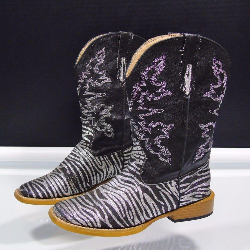 Roper Kids Girls Western Boots Zebra
