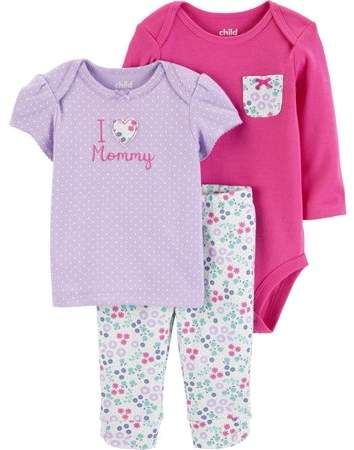 fee29ca9fc8b Carter's Child of Mine by Long Sleeve Bodysuit, T-Shirt & Pants, 3 ...