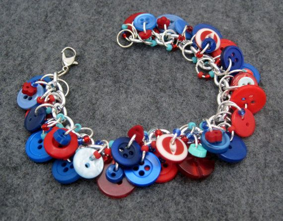 Button Charm Bracelet  Blue and Red by by randomcreative on Etsy, $23.00