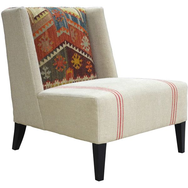 Chenla Modern Rustic Kilim Red Stripe Cream Accent Chair 1 356
