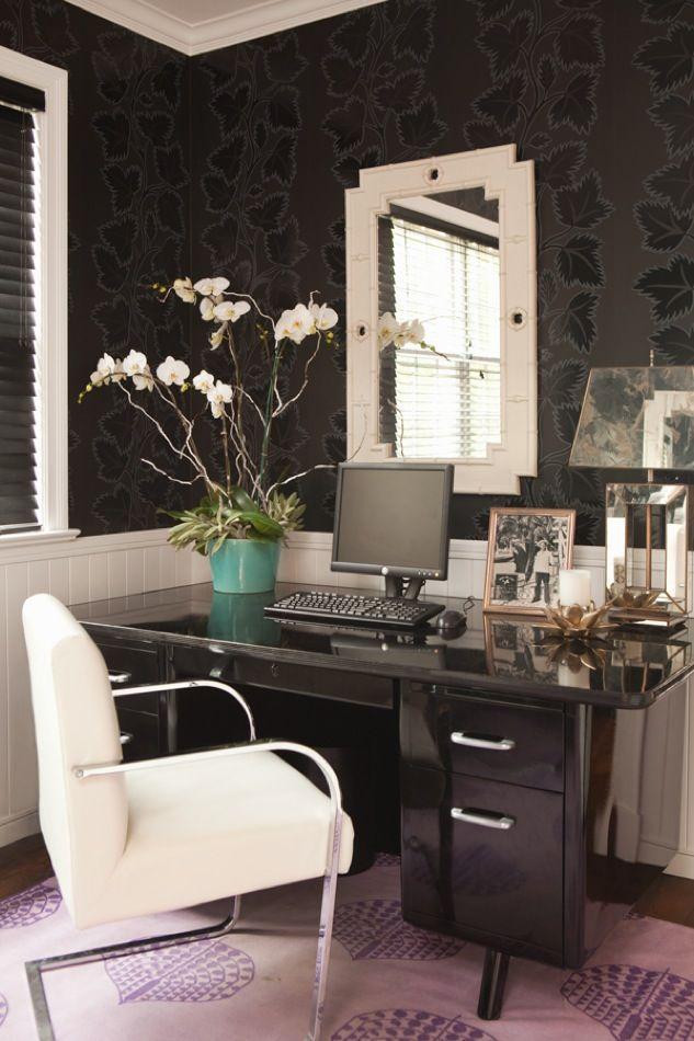 Black White Office By Hillary Thomas Chic Office Space Home