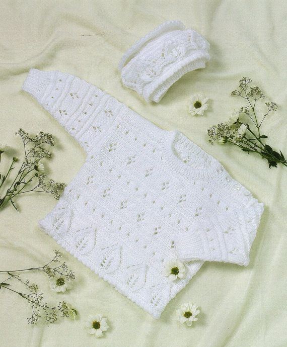Baby DK Sweater And Bonnet Knitting Pattern. To Fit Size: 3 Months - 4 Years.  Jacket Chest Size: 46 - 51 cm / 18 - 20: 3 -12 months. 56 - 61 cm