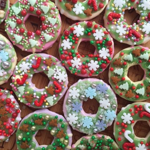 Party Ring Christmas Wreath Iced Biscuits Christmas Cookies
