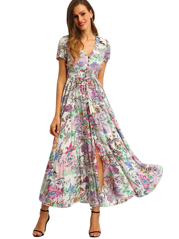 Milumia womenus button up split floral print flowy party maxi dress