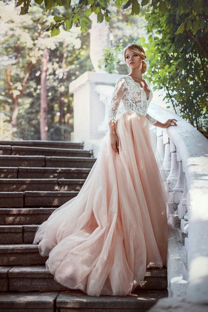 Romantic 2016 Lace Tulle Pink Wedding Dresses Deep V-neck 3 4 Sleeve Bride  Dress Sexy Open Back Wedding Gown vestido de noiva noiva f6ccfc467671