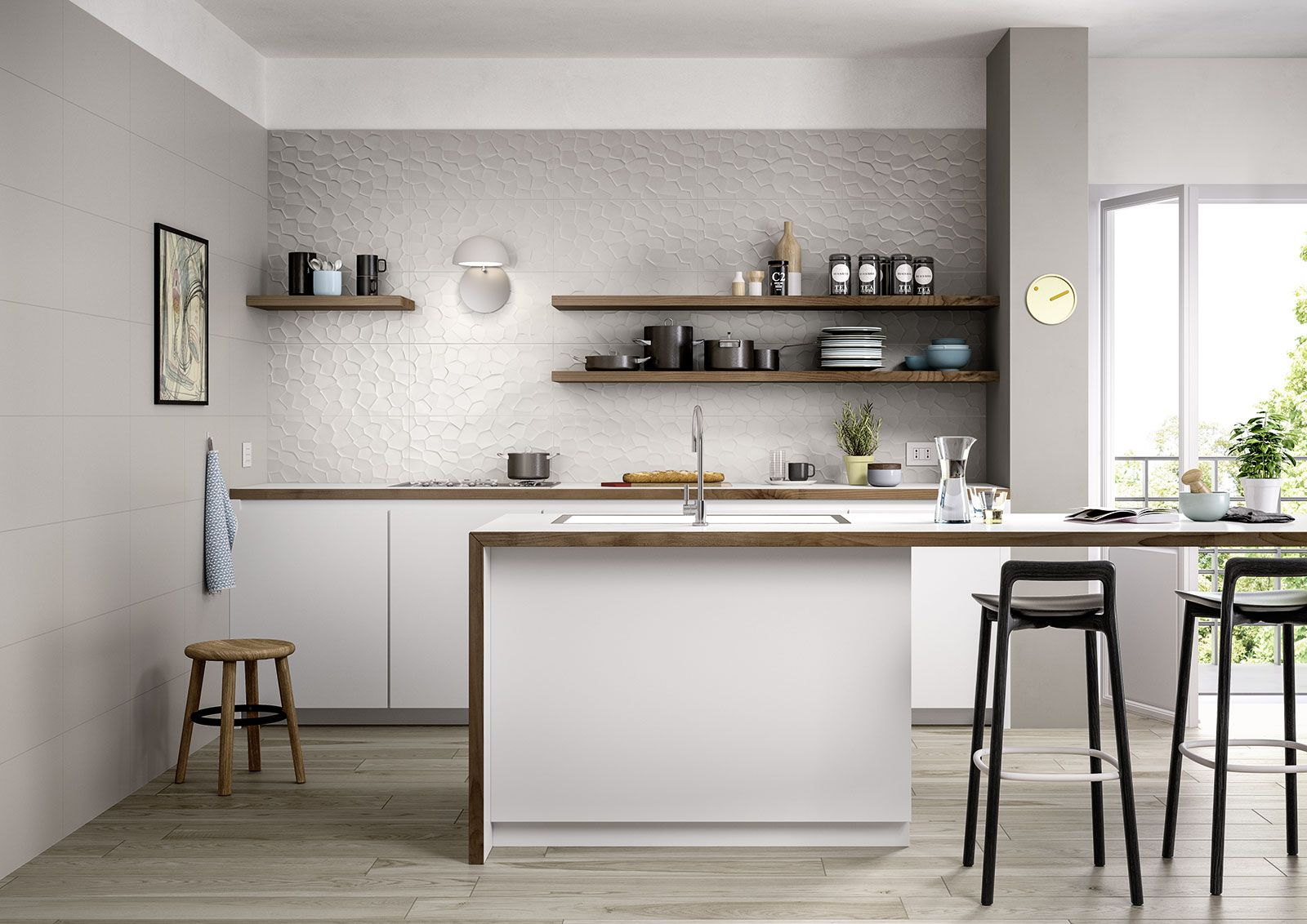 Collection: Color Code | Modern white kitchen with 3D wall | About ...