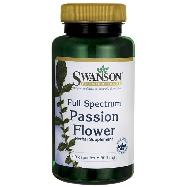 Swanson Premium Full Spectrum Passion Flower 500 Mg 60 Caps Herbalism Jujube Fruit Slippery Elm