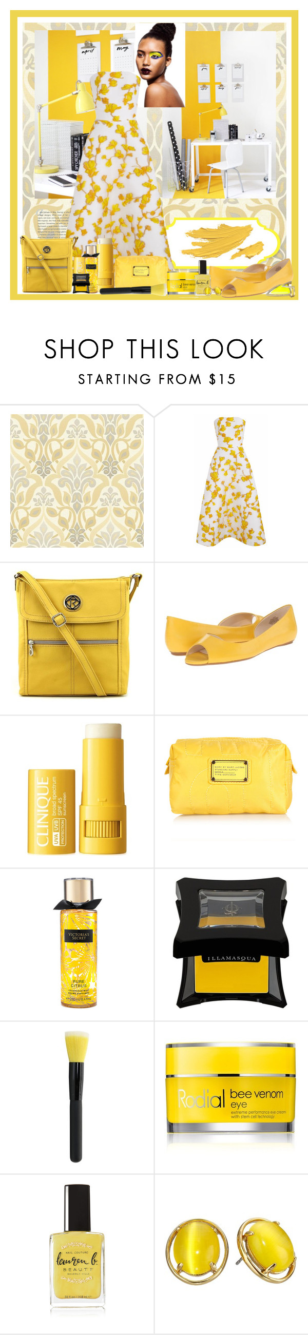 """Ring in the Sunshine"" by jakenpink ❤ liked on Polyvore featuring Stop Staring!, The 2nd Skin Co., Relic, Nine West, Clinique, Marc Jacobs, Illamasqua, Rodial, Lauren B. Beauty and Kate Spade"