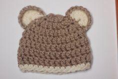 шапочка с ушками для новорожденного мальчика крючком вязание