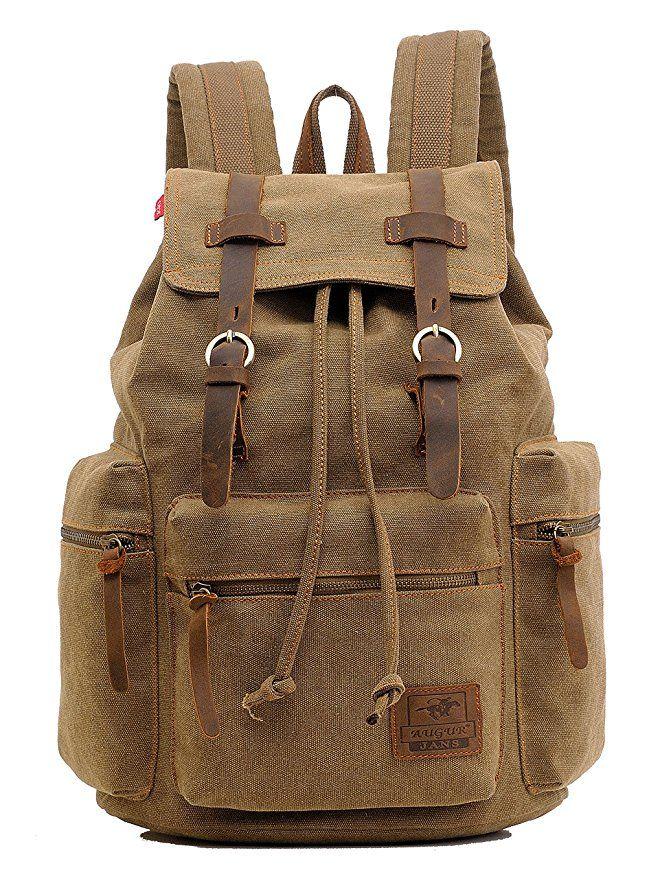 Women/'s Men/'s Vintage Canvas Backpack School Backpack Shoulder Travel Rucksack