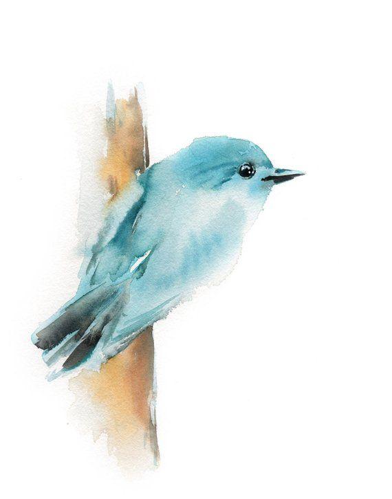 Minimalist Blue Bird Fine Art Print, Bird Watercolor Painting Modern Minimalist Bird Wall Art Print