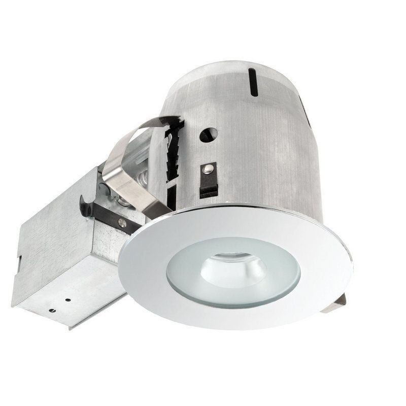 Globe Electric 9202701 4 inch Recessed Lighting Kit Bathroom Spot Light  Chrome Recessed Lights Trim and