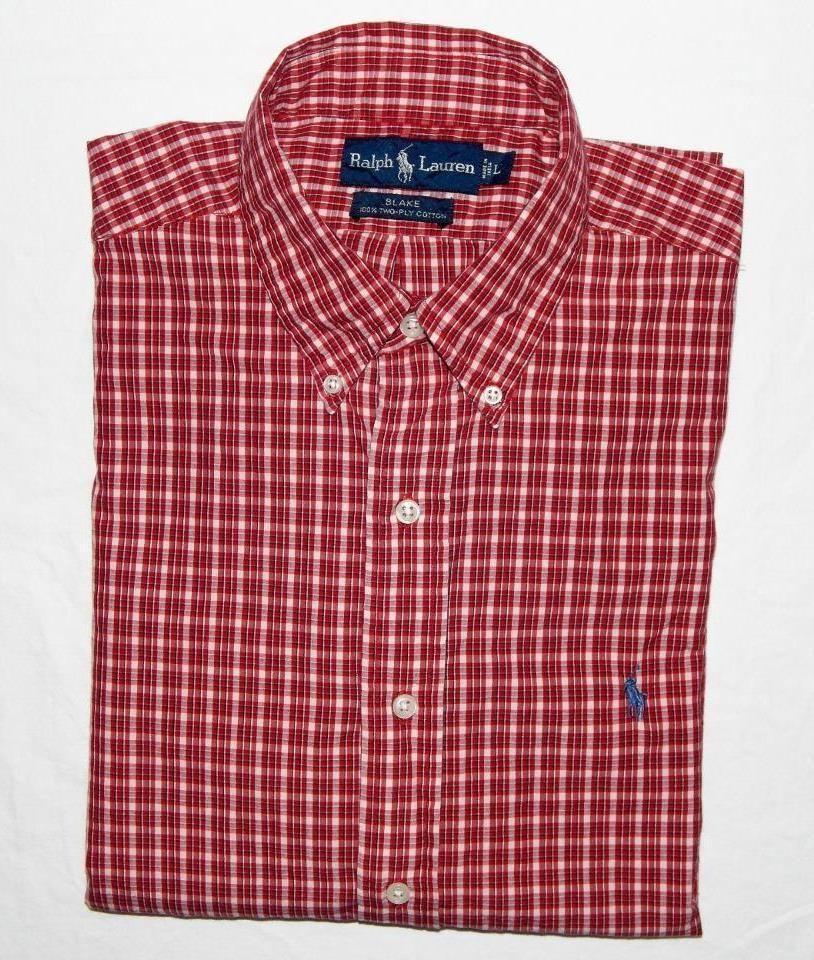 8177369ba POLO RALPH LAUREN Men s Red Plaid L S Casual Button Down Shirt Size Large
