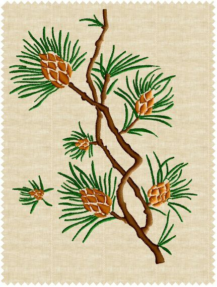 Pine #1 Embroidery Design
