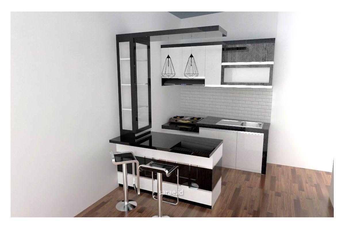 Desain Kitchen Set Dan Minibar Bertema Warna Hitam Putih