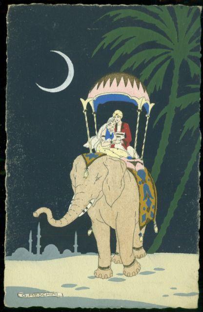 Meschini Art Deco Pochoir Postcard Moonlight Woman Beau
