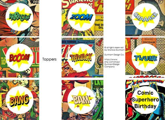 Comic Superhero Toppers, Tent Cards, & Favor Box {INSTANT DOWNLOAD} Dunham Design Company