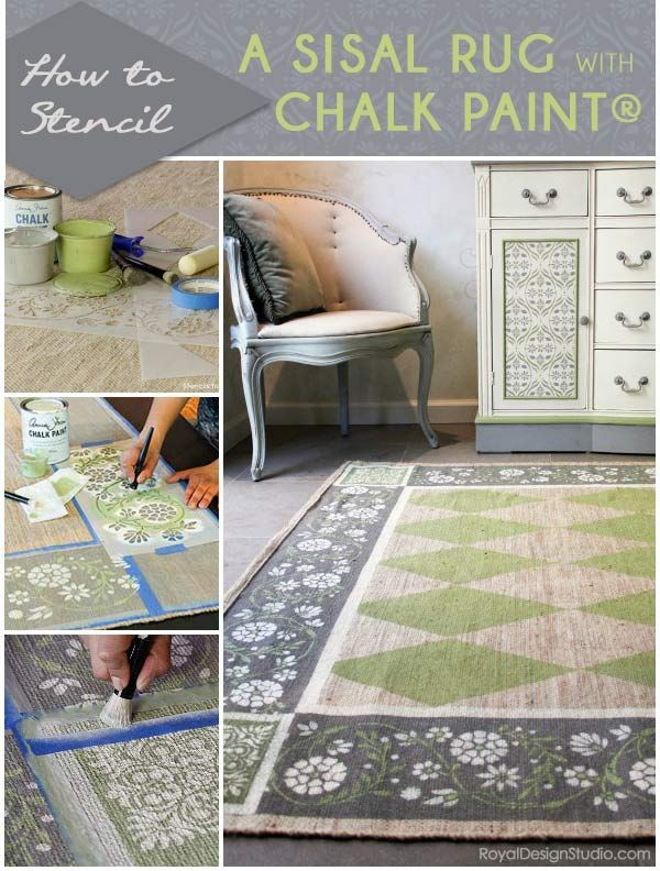 How To Stencil A Pretty Sisal Rug With Chalk Paint Painted Rug Diy Rug Diy Painting
