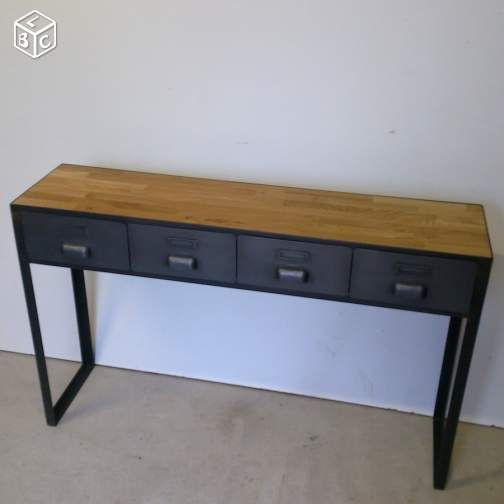 console d 39 entr e metal ch ne tiroirs industriels. Black Bedroom Furniture Sets. Home Design Ideas