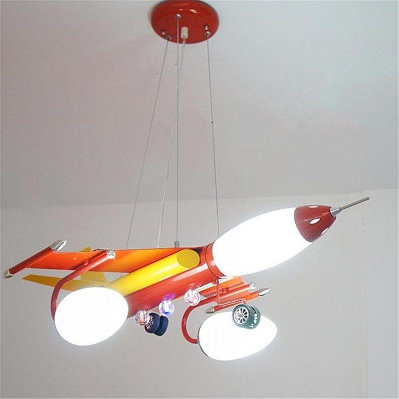 gros avion lustre bleu rouge en metal