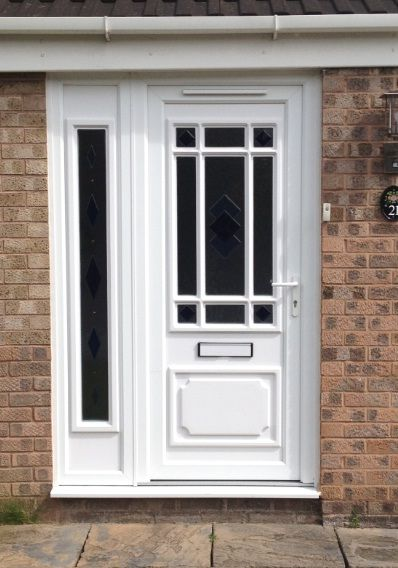 Double Front Doors White exterior side doors with glass | upvc door with double glazed side