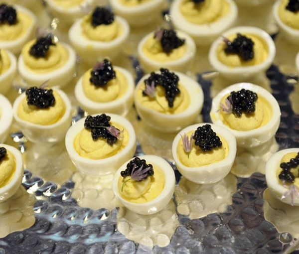 Andrea Reusing's quail eggs with caviar (Photo by Michael Harlan Turkell)