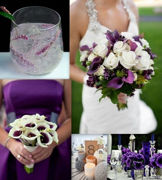 Very classy and elegant...definitely an option..Wedding Color Pallet Palette  Royal purple calla lily eggplant white - remember that not only royals but also cardinals were allowed to wear purple! But I love avery stylish idea not only coming in innocent white! #wedding, #accessoires, #bouquets