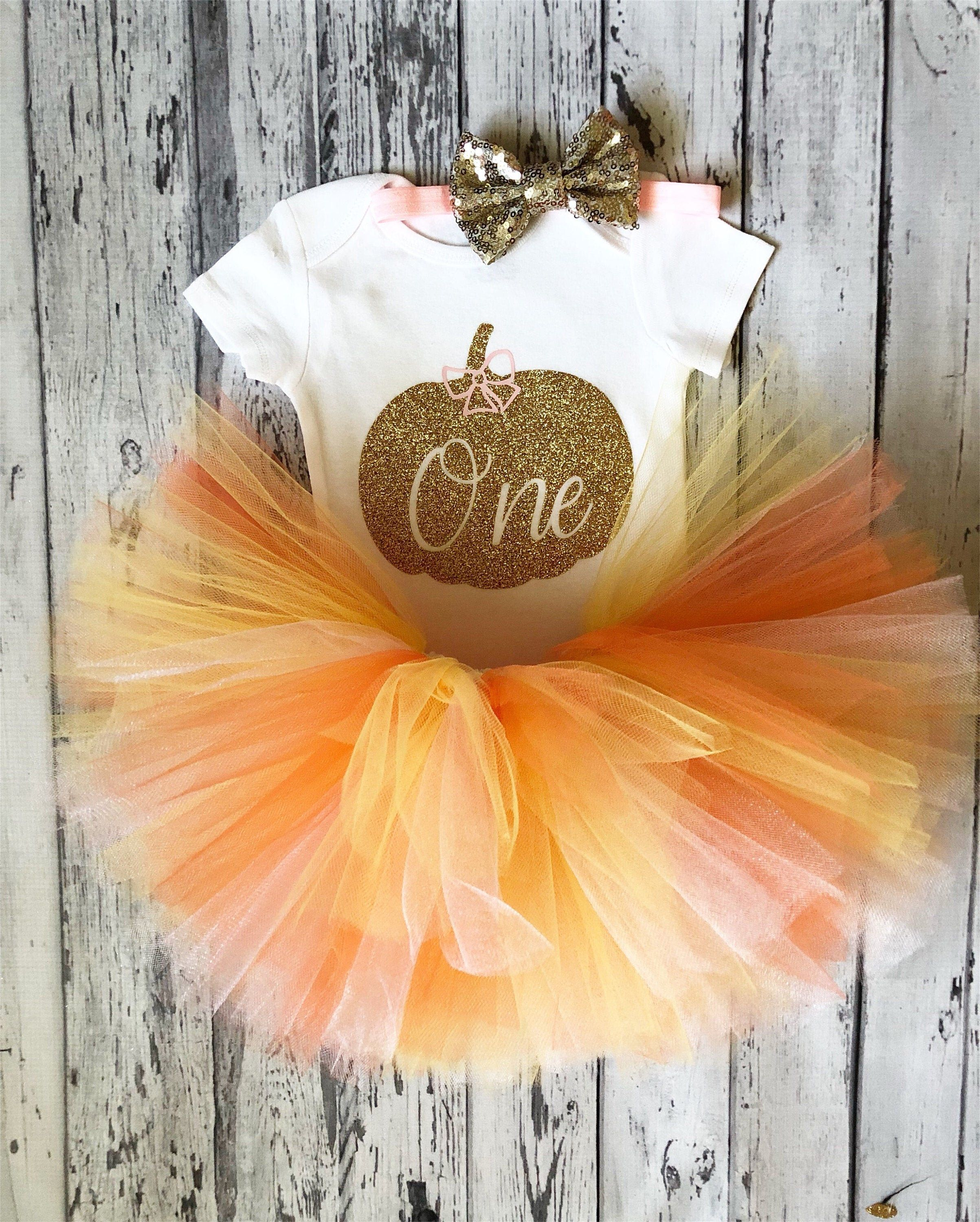 Pink and Gold Pumpkin First Birthday Outfit October 1st Birthday Outfit Pumpkin Theme 1st Birthday Bodysuit Cake Smash Outfit Halloween Gold