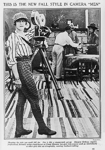 Margery Ordway, full-length portrait, standing, facing front, with motion picture camera, at Camp Morosco.  Photoplay. Chicago : Photoplay magazine publishing company, etc., 1916 Oct., p. 103.  American women: a Library of Congress guide for the study of women's history and culture in the United States / edited by Sheridan Harvey ... [et al.]. Washington : Library of Congress, 2001, p. 310.  – this image can also be found here- http://www.loc.gov/loc/lcib/0201/herstory.html