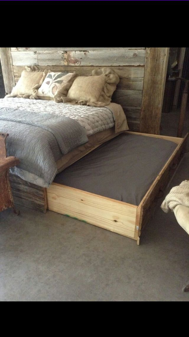 No More Pups Hogging The Bed They Can Have A Bed Of Their Own With This Design Need To Convert The Drawers Under My Bed To Pet Bed Wooden Dog Bed