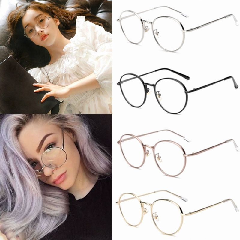 09dab8c2cd87 Women Men Large Oversized Metal Frame Clear Lens Round Circle Nerd Eye  Glasses B