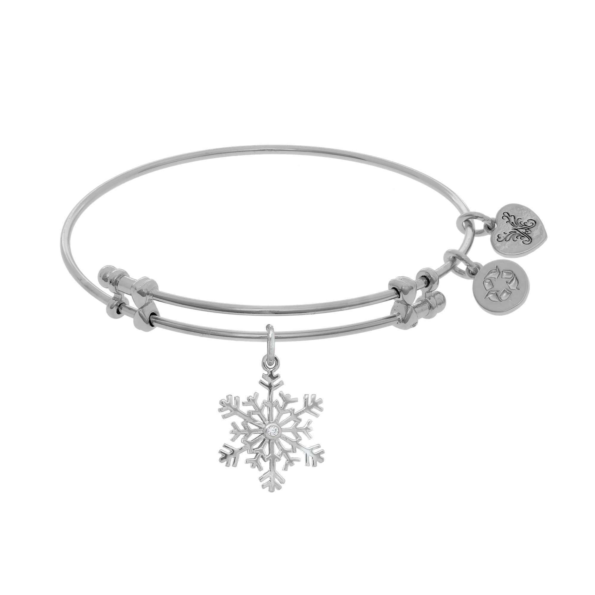 CZ Snowflake Dangle Charm Bangle by Angelica Collection Ref ROY