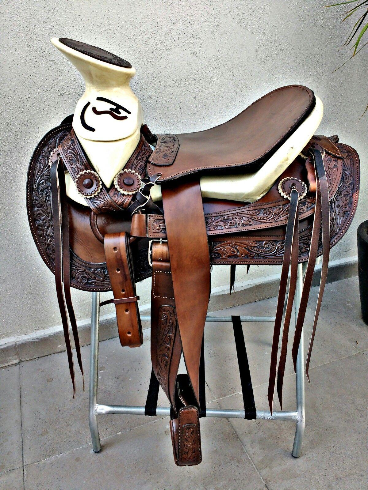 Hermosa montura cola de pato con vistas cinceladas monturas charras - Silla montar caballo ...