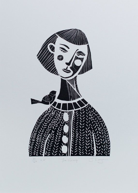 The Gossip, Linocut print. Copyright Judith Logan 2015 Available in 4 colours in my Etsy Shop.