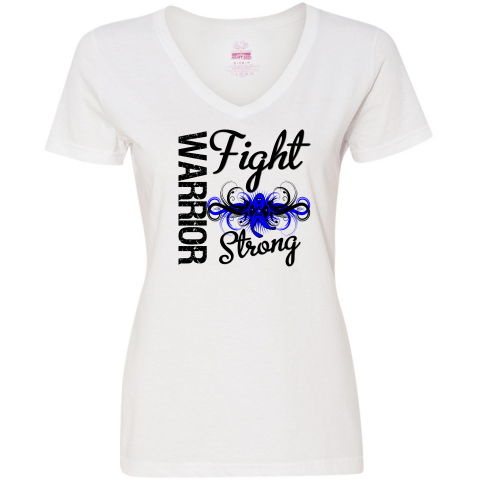 Fight Strong Motto on Arthritis Warrior Women's V-Neck T-Shirts featuring a cool tribal swirl style with an awareness ribbon in the center to make an impact for your cause #ArthritisAwareness