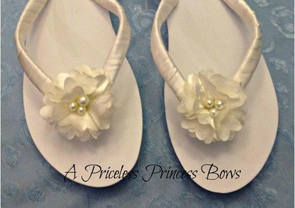 161521b1633a3e Ivory Bridal Flip Flops with Ivory Cream Satin Flower   Pearls Bride  Sandels Shoes Wedding Beach Bridesmaids Flower Girl - TheWeddingMile.com   24.95