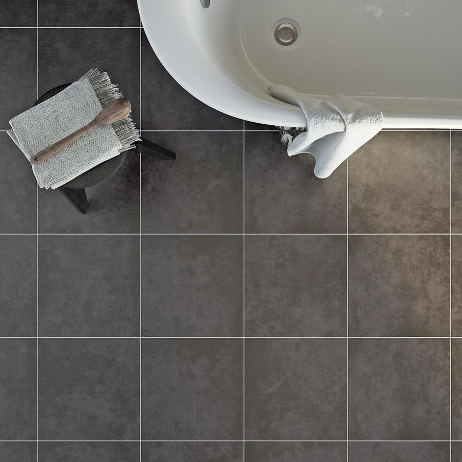 Bathroom with black floor tiles white metro tiles and a wall hung british ceramic tile canvas charcoal grey matt tile x dailygadgetfo Gallery