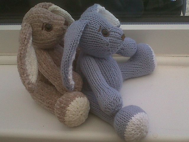 This pattern is available for download for £3.50. Knitted in stocking stitch on straight 3mm needles throughout. Knitted on the straight.  Little bunny created for my baby Grandson for an Easter treat. Bunny sits at just 6 inches high.  Very easy to knit and create for a special extra Easter treat.  For more information, see: http://www.craftsy.com/pattern/knitting/Toy/Pocket-B...