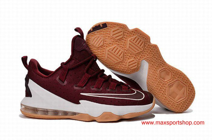 8ac3f8936bd04 Nike LeBron 13 Low Wine-red White Knight Mens Basketball Shoes ...