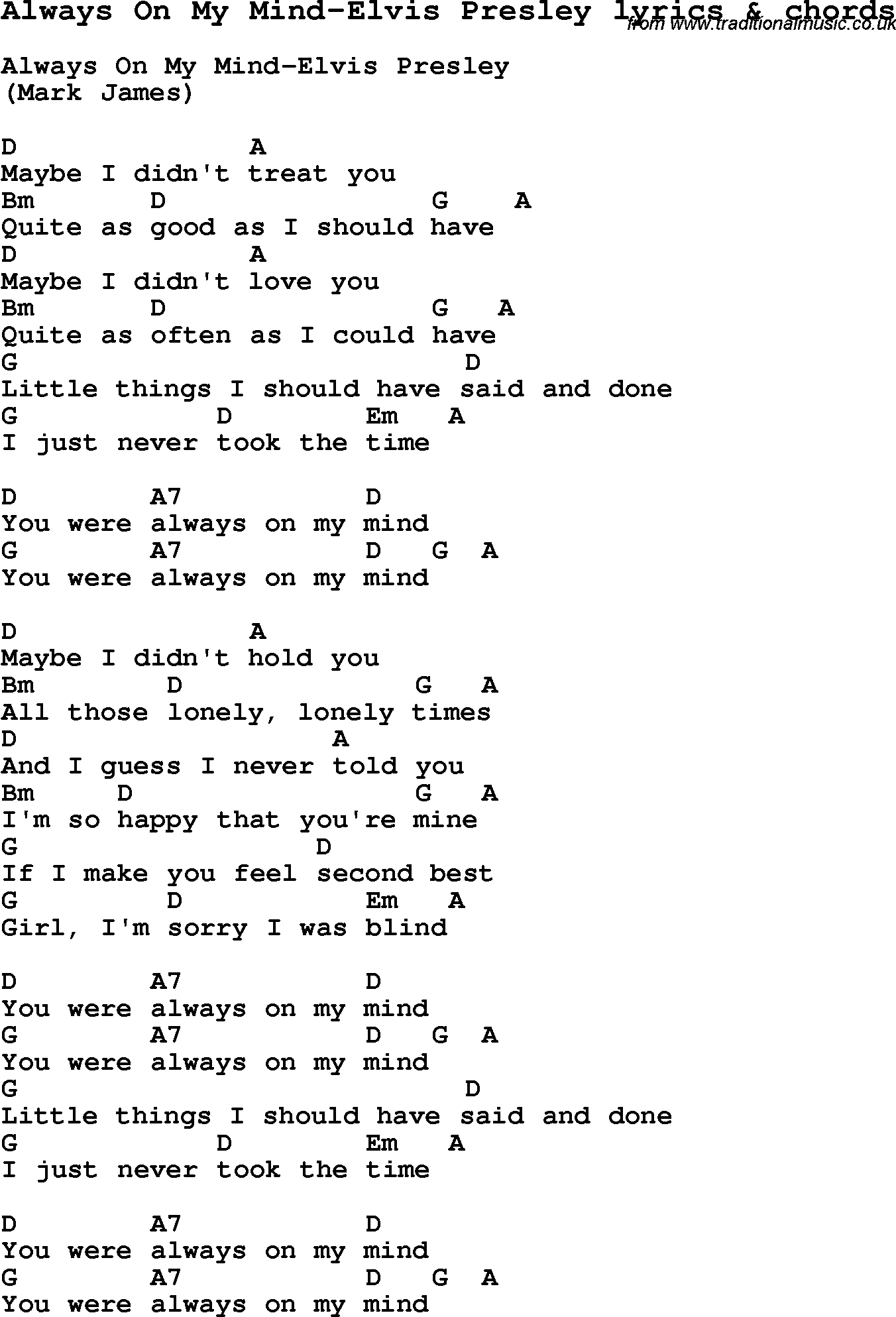 Love Song Lyrics For Always On My Mind Elvis Presley With Chords